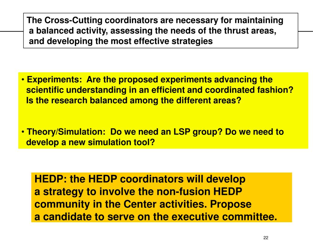 The Cross-Cutting coordinators are necessary for maintaining