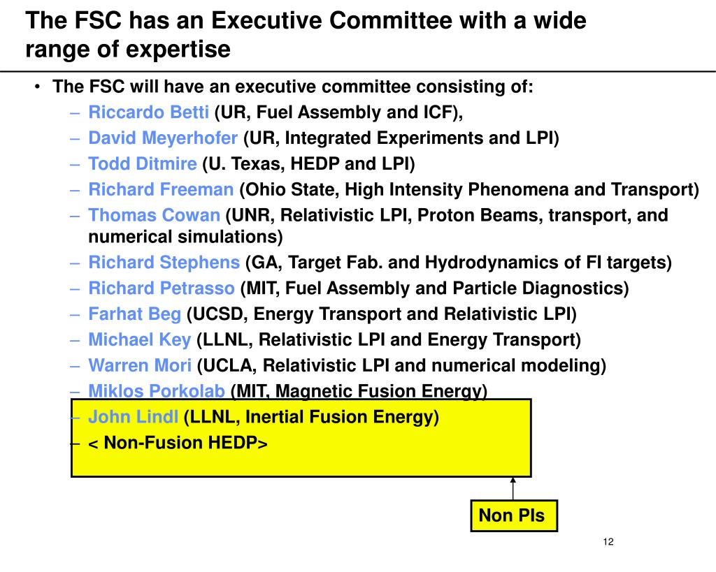 The FSC has an Executive Committee with a wide range of expertise