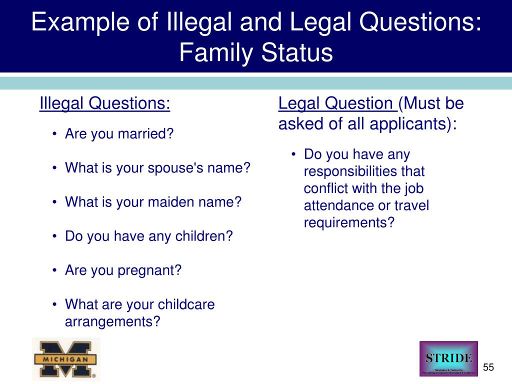 Example of Illegal and Legal Questions: Family Status