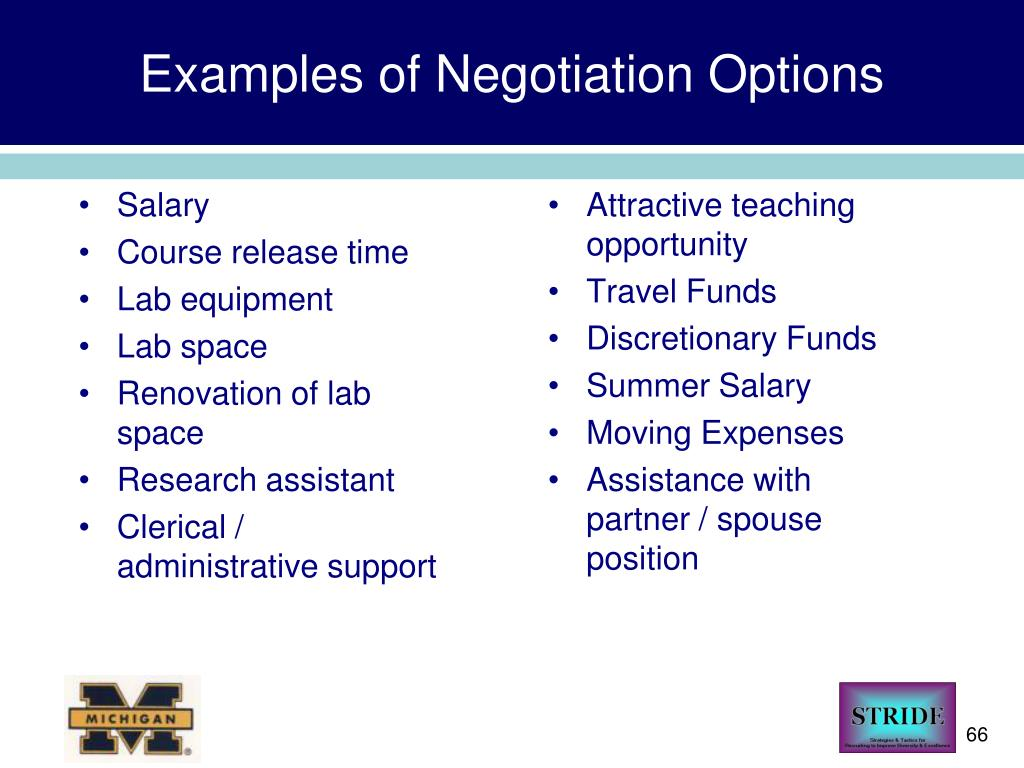 Examples of Negotiation Options