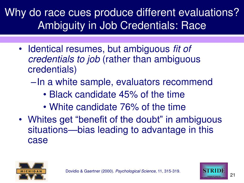 Why do race cues produce different evaluations? Ambiguity in Job Credentials: Race