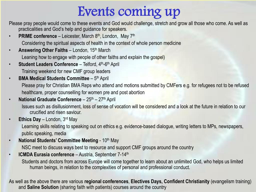 Events coming up