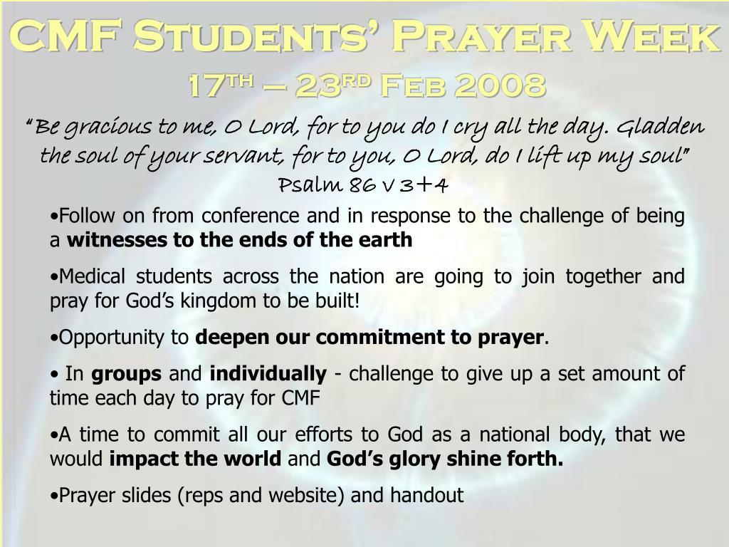 CMF Students' Prayer Week