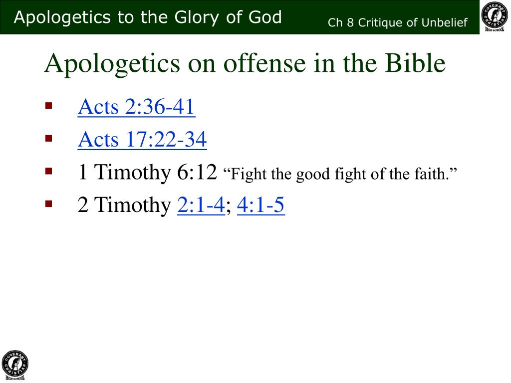 Apologetics on offense in the Bible
