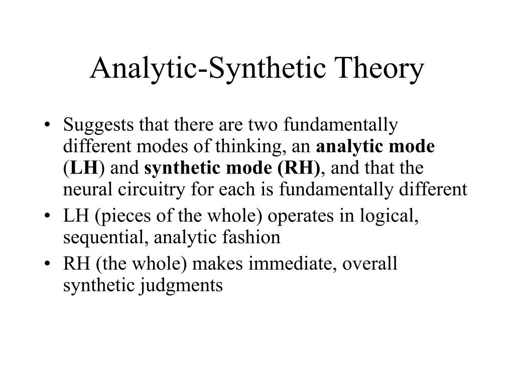 Analytic-Synthetic Theory