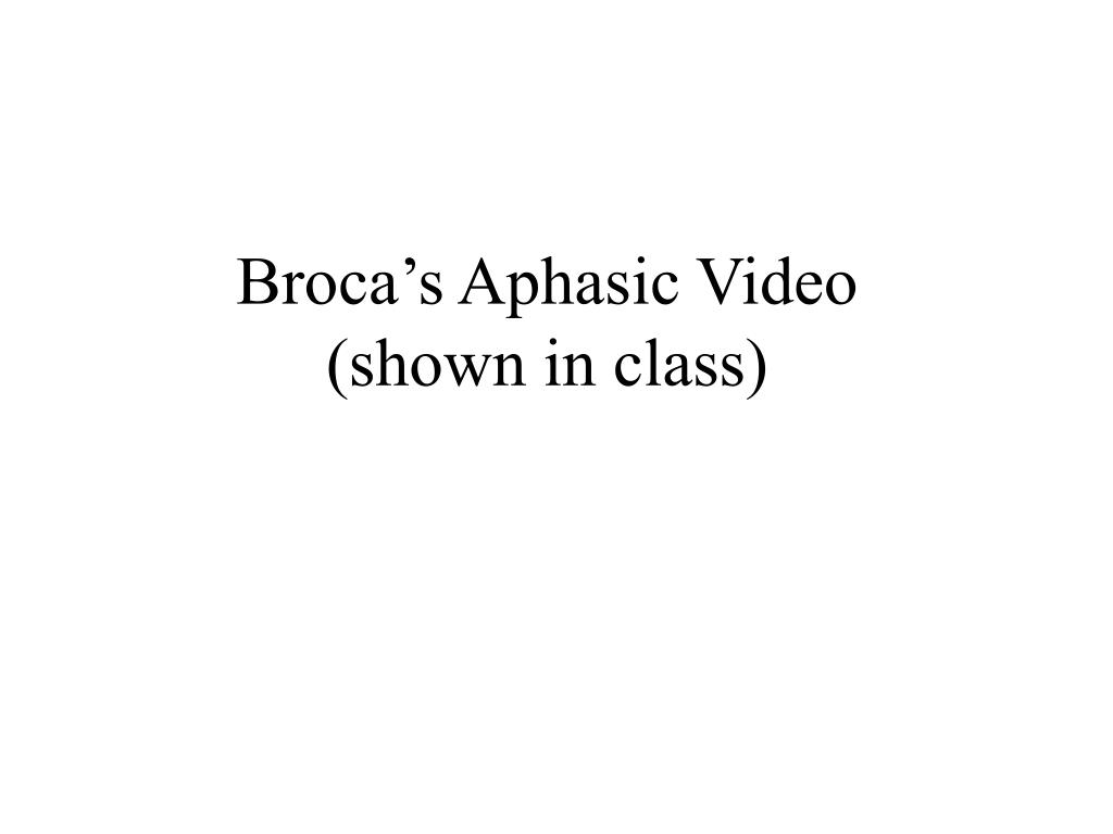 Broca's Aphasic Video