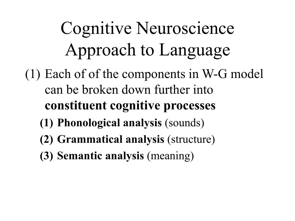 Cognitive Neuroscience Approach to Language