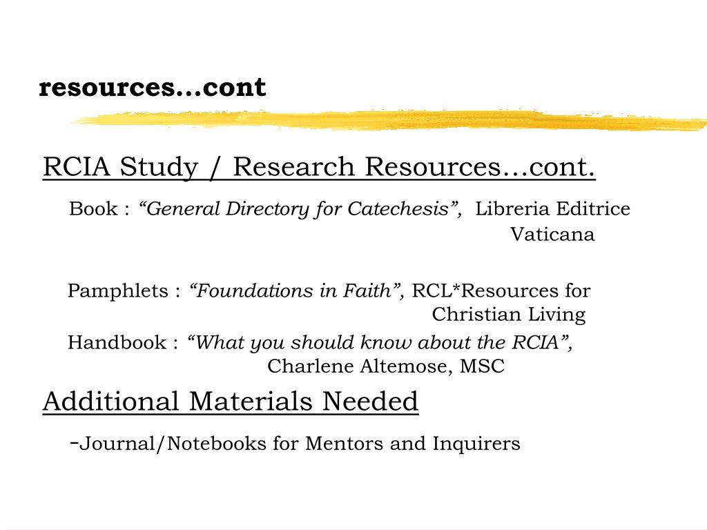 resources…cont