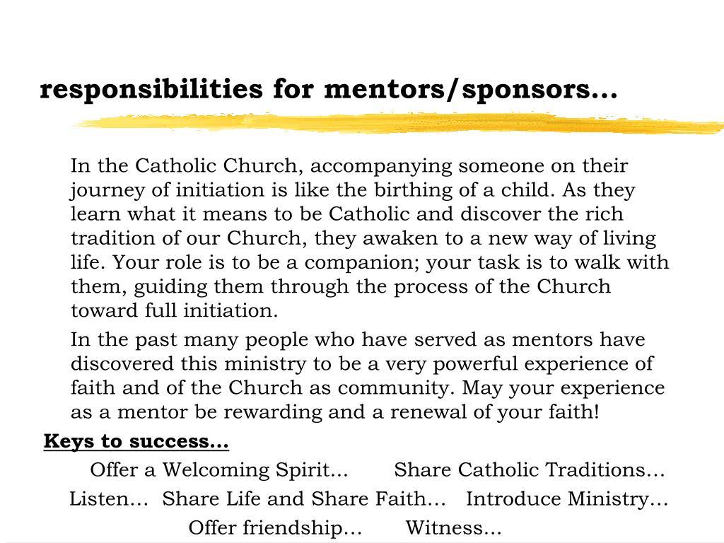 responsibilities for mentors/sponsors...