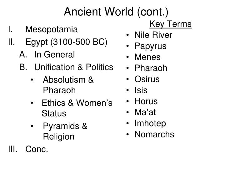 Ancient world cont