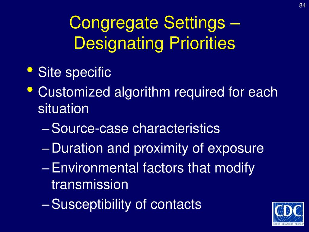 Congregate Settings –