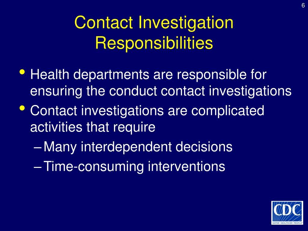 Contact Investigation Responsibilities