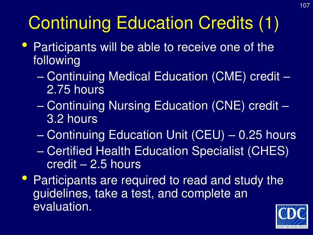 Continuing Education Credits (1)