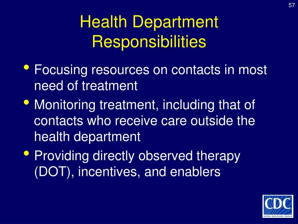 Health Department Responsibilities