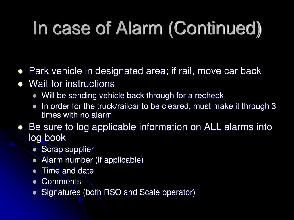 In case of Alarm (Continued)