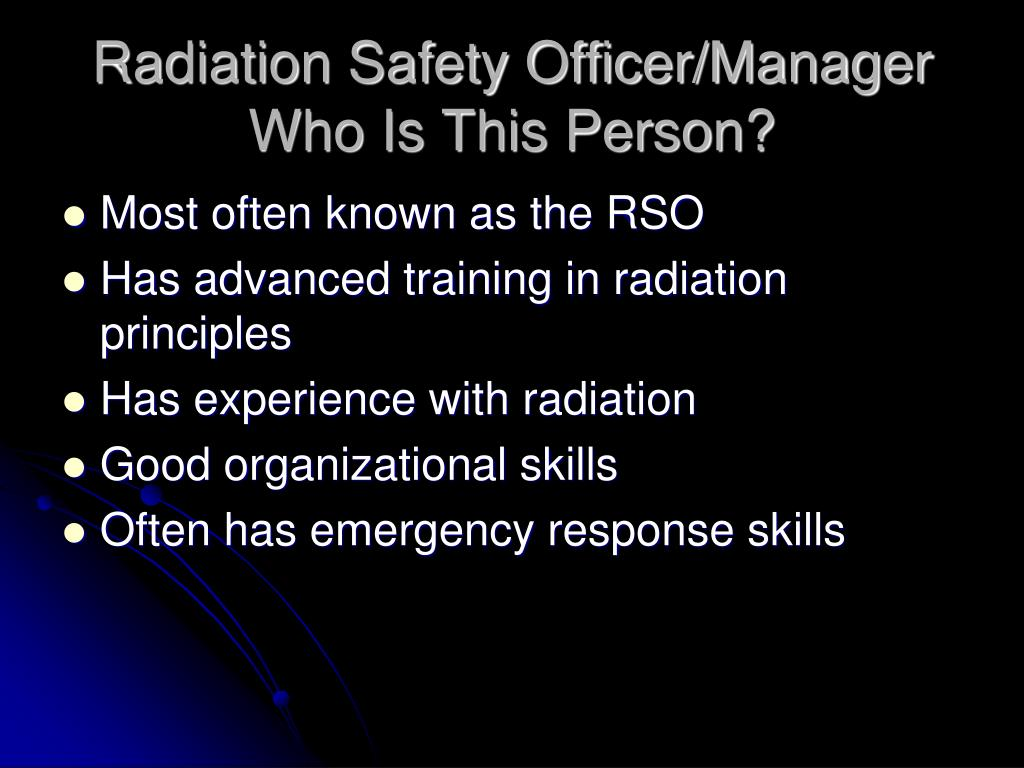 Radiation Safety Officer/Manager