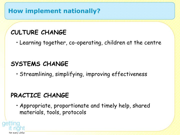 How implement nationally?