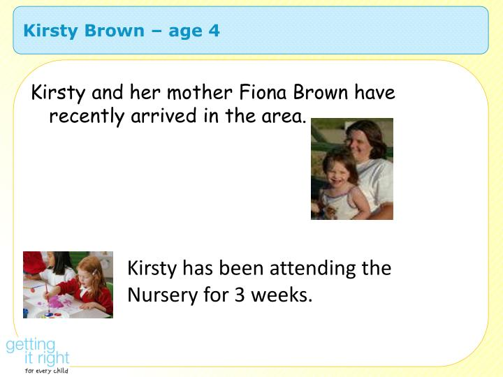 Kirsty Brown – age 4