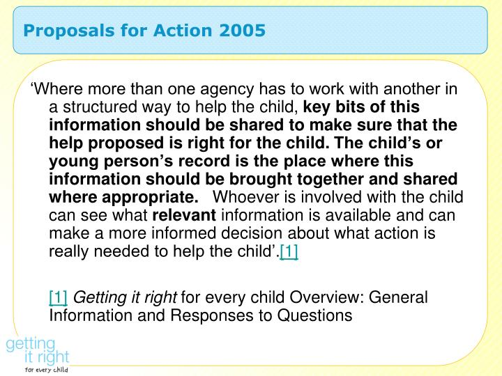 Proposals for Action 2005