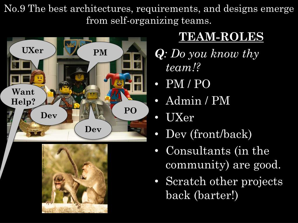 No.9 The best architectures, requirements, and designs emerge from self-organizing teams.