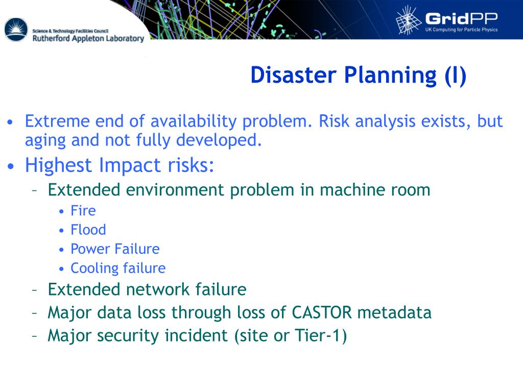 Disaster Planning (I)