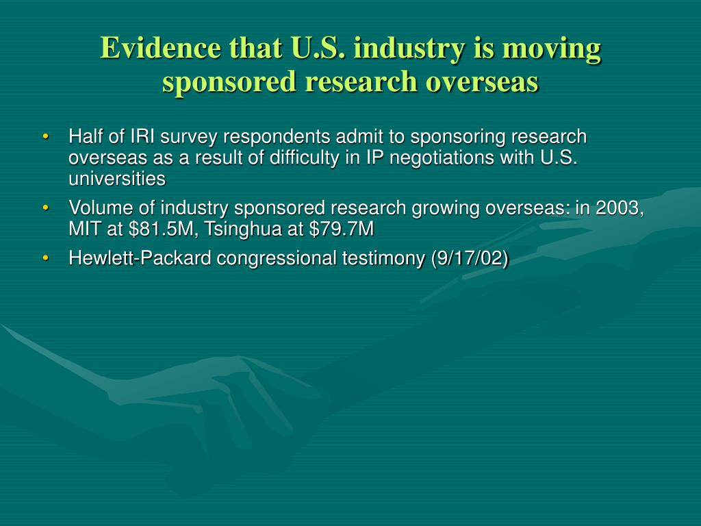 Evidence that U.S. industry is moving sponsored research overseas