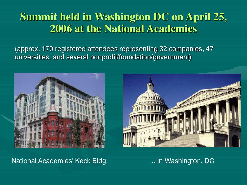 Summit held in Washington DC on April 25, 2006 at the National Academies