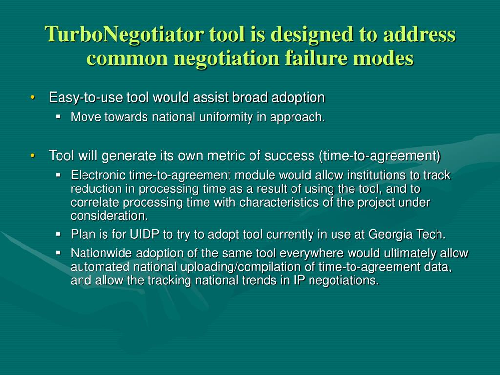 TurboNegotiator tool is designed to address common negotiation failure modes