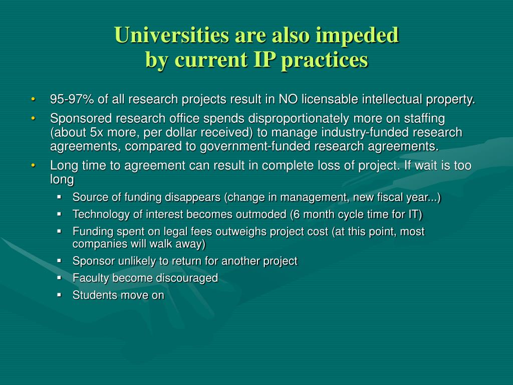 Universities are also impeded