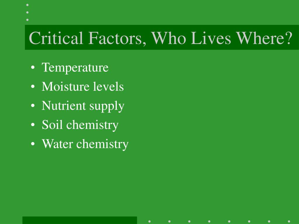 Critical Factors, Who Lives Where?