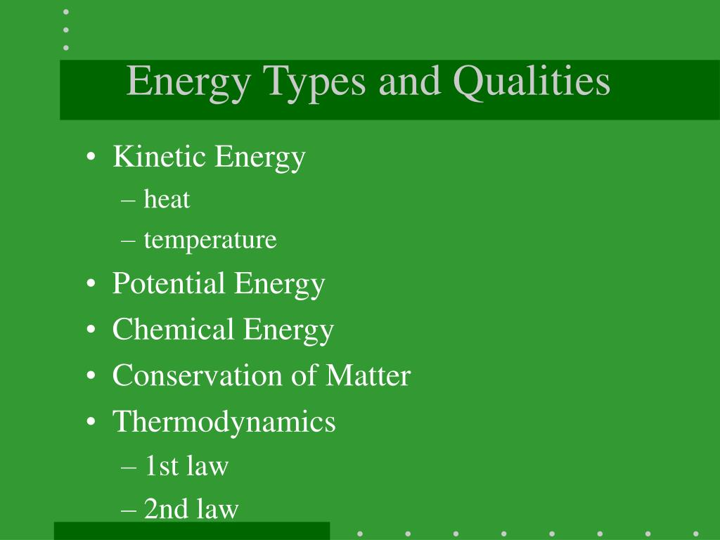 Energy Types and Qualities