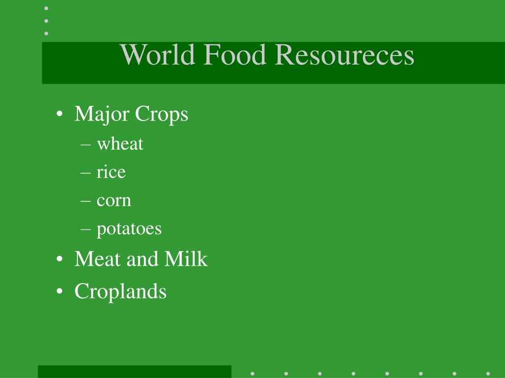 World Food Resoureces