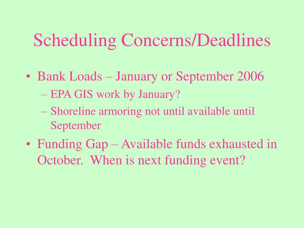 Scheduling Concerns/Deadlines