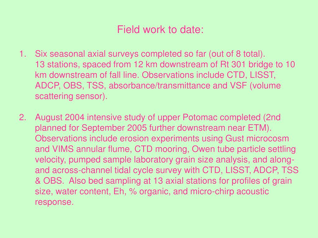 Field work to date: