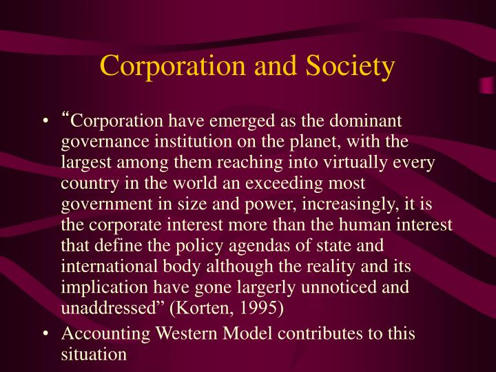 Corporation and society