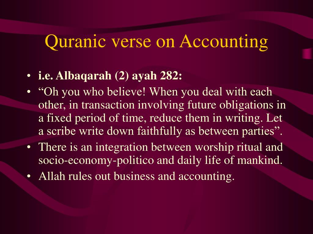 Quranic verse on Accounting