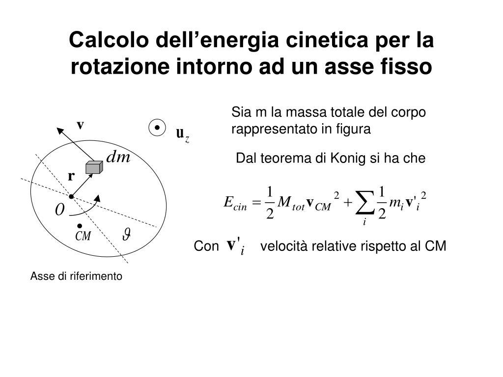 Calcolo dell'energia cinetica per la rotazione intorno ad un asse fisso