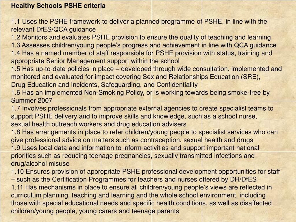 Healthy Schools PSHE criteria