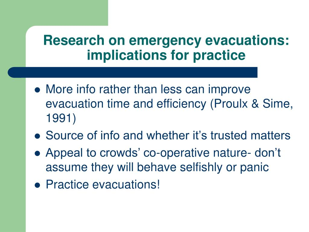 Research on emergency evacuations: implications for practice