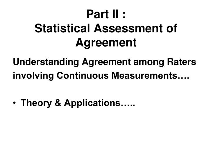 Part ii statistical assessment of agreement