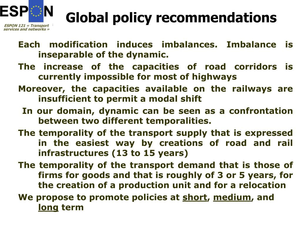 Global policy recommendations