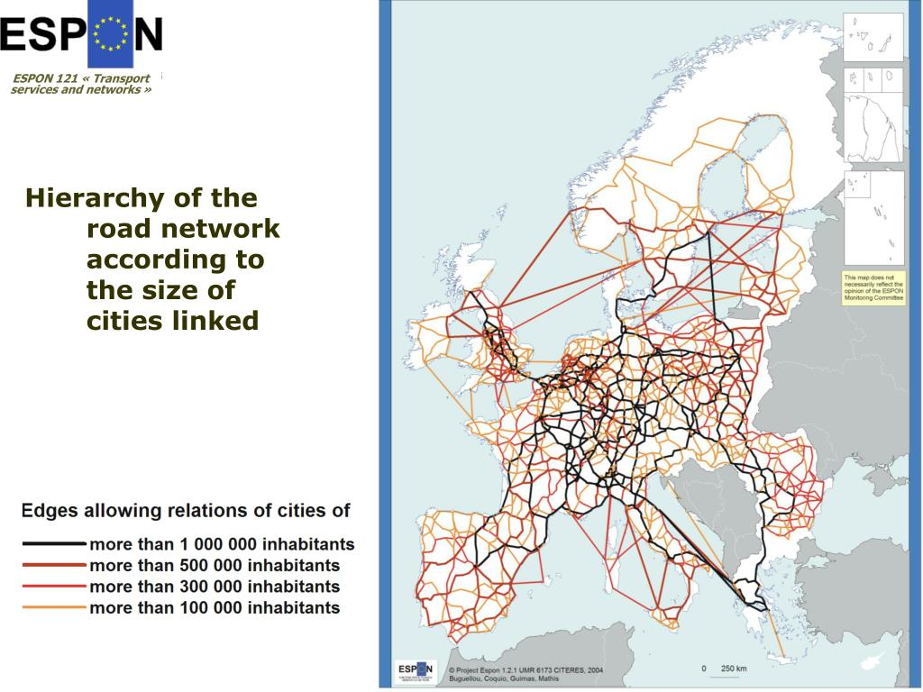 Hierarchy of the road network according to the size of cities linked