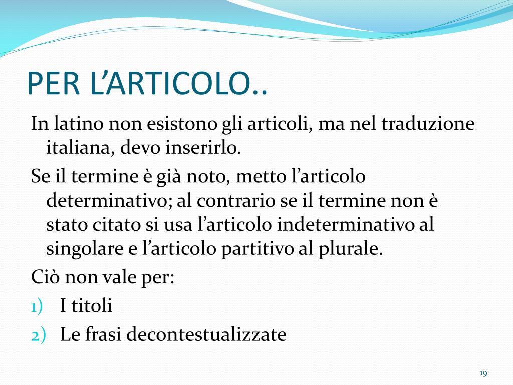 PER L'ARTICOLO..