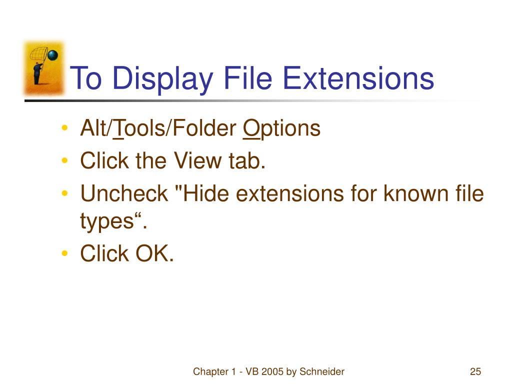 To Display File Extensions