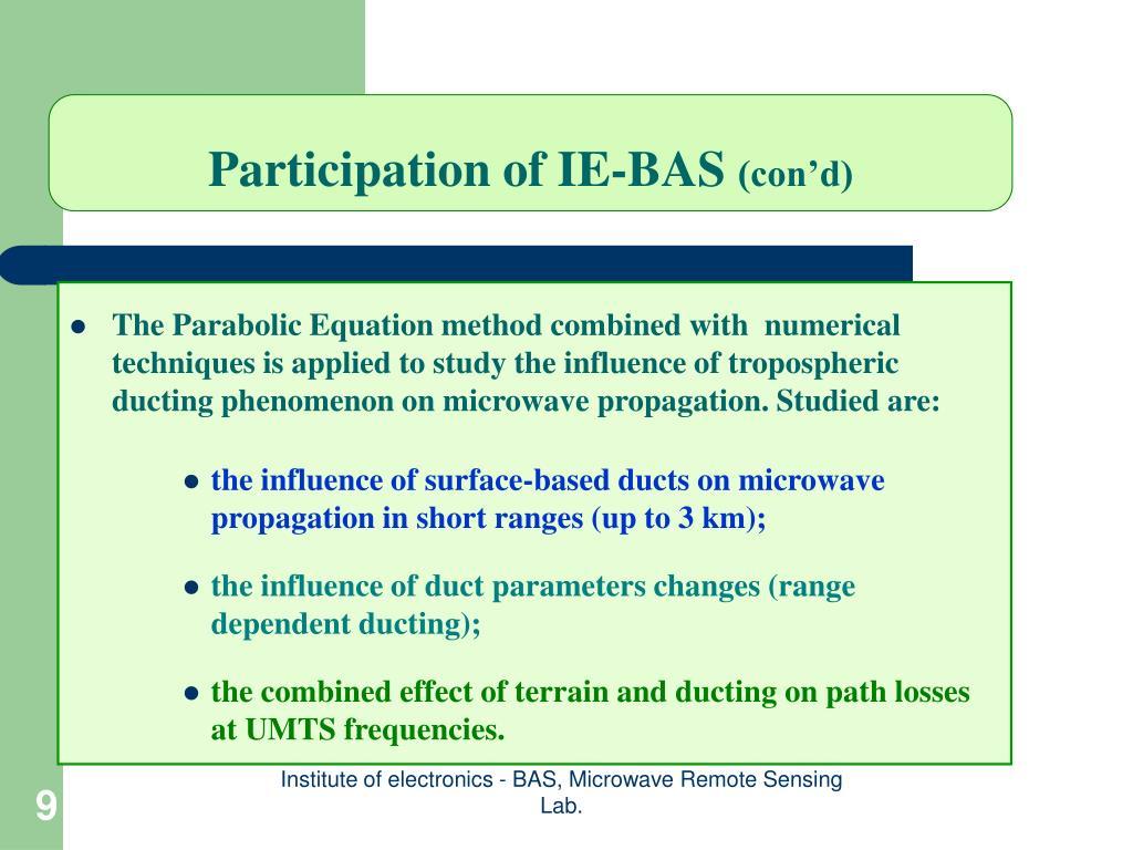 Participation of IE-BAS