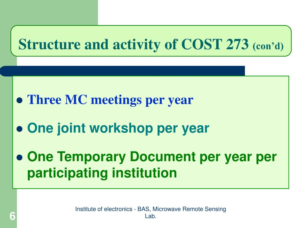 Structure and activity of COST 273