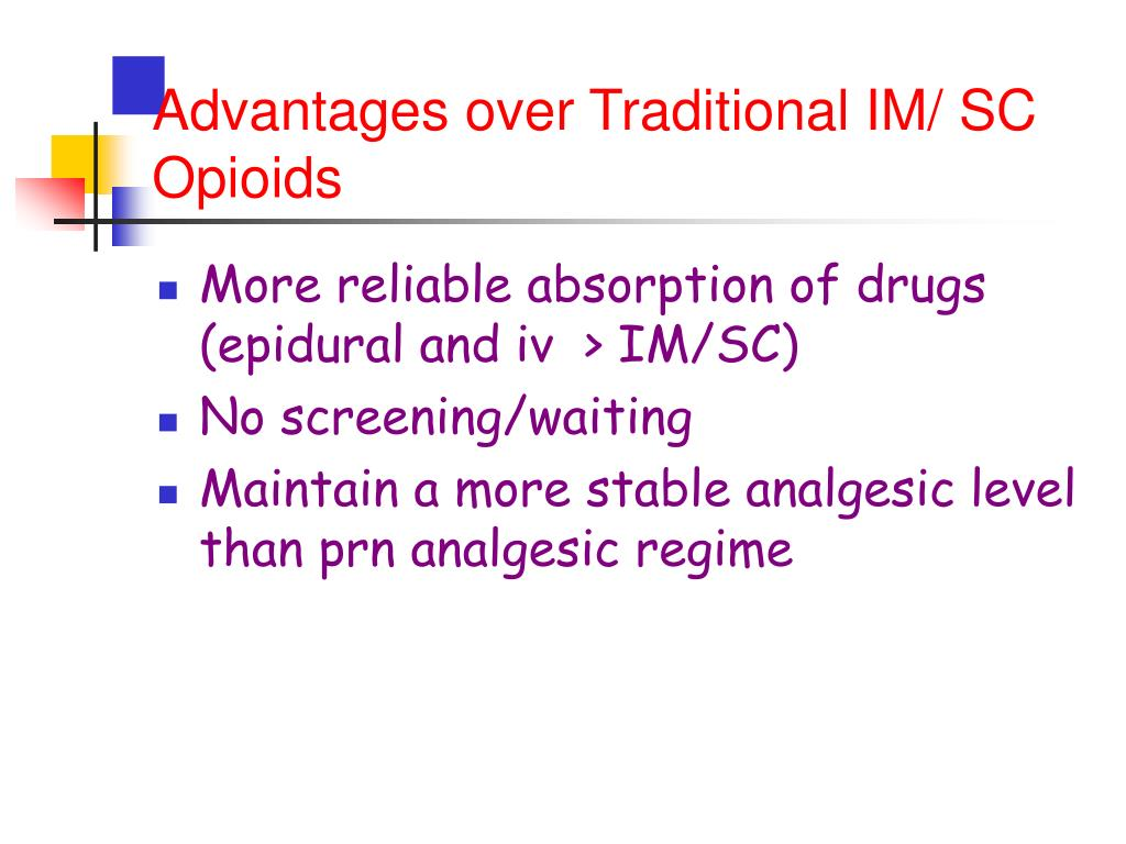 Advantages over Traditional IM/ SC Opioids
