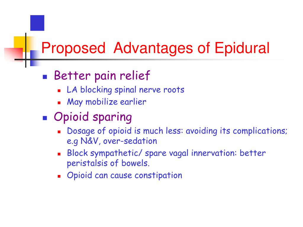 Proposed  Advantages of Epidural