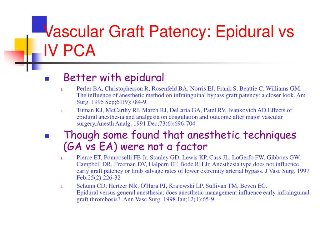 Vascular Graft Patency: Epidural vs IV PCA