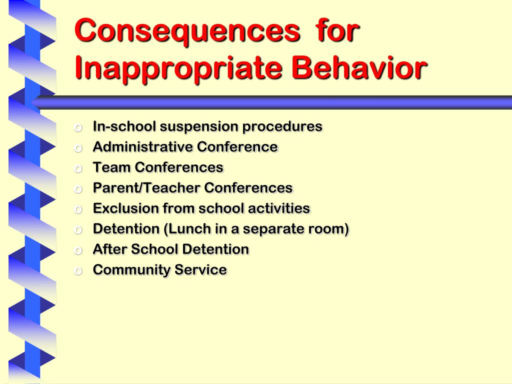 Consequences  for Inappropriate Behavior